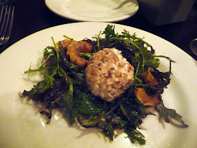 Meriwether's Sunday Supper series with Portland Creamery Early Spring Greens from Skyline Farms of delicata squash, hazelnut crusted chevre, balsamico
