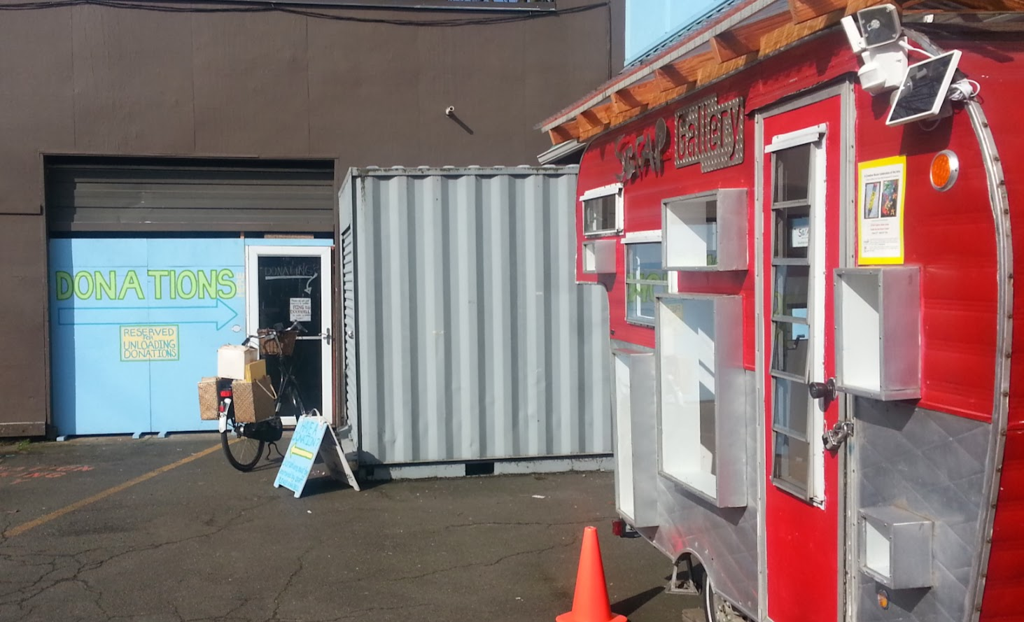 Scrap Creative Reuse Center in Portland, with their red-trailer craft gallery