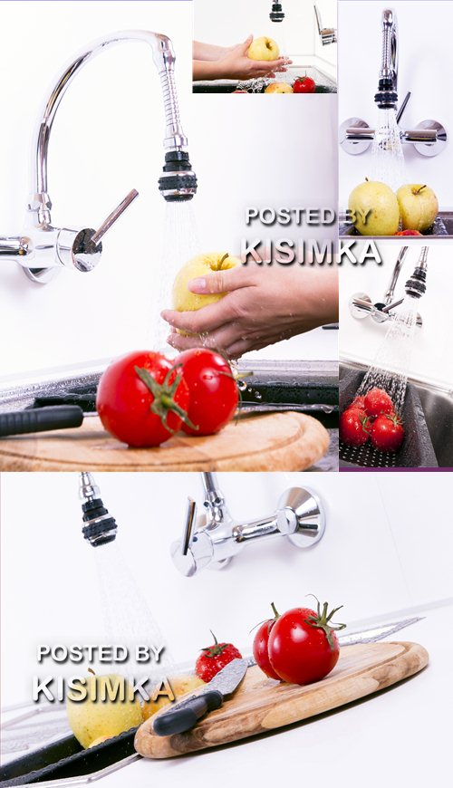 Vegetables and fruit are washed up in kitchen