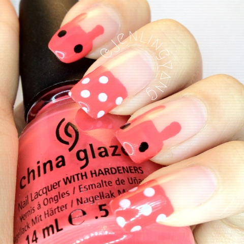 cute red bunnies rabbits manicure nails with polka dots