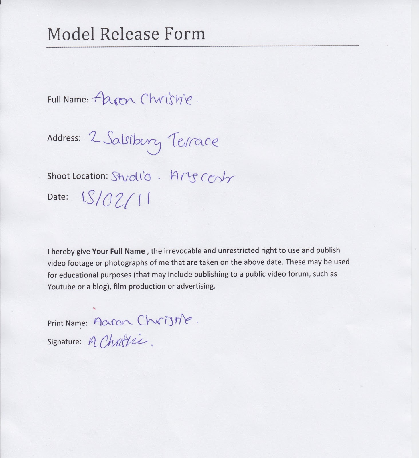 Model release forms model release form template slr lounge spiritdancerdesigns Choice Image