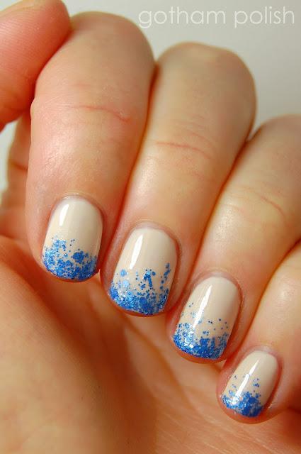 graduation manicure glitter gradient