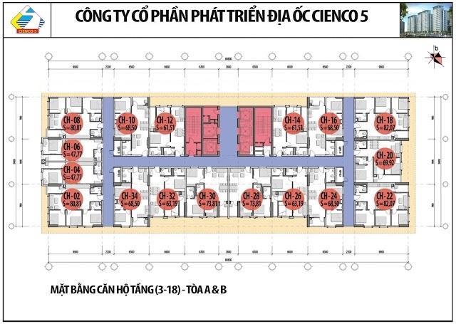 Mặt Bằng Căn Hộ Chung Cư B2.1 HH02A,B Thanh Hà Cienco5