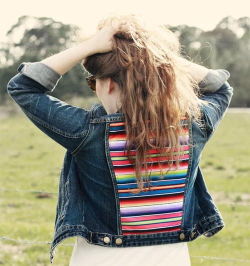 jaqueta com tecido listrado