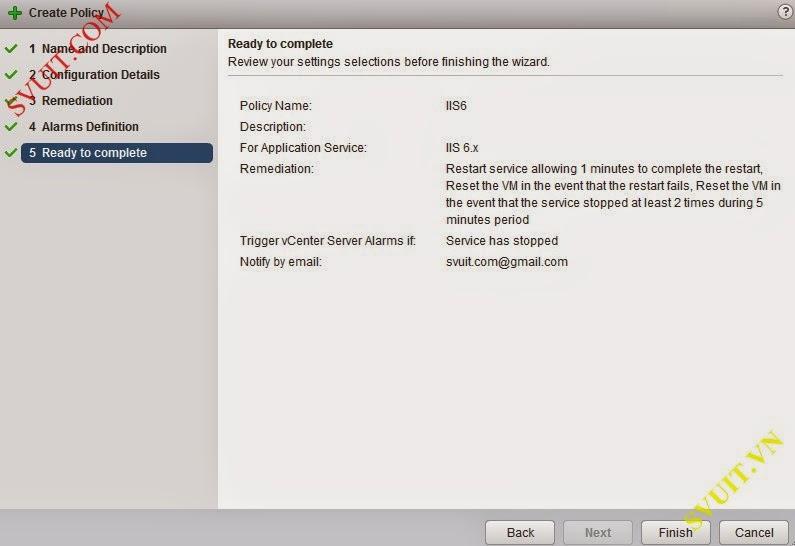 Configure policy vSphere app Ha (10)