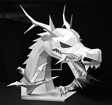 Traditional Asian Dragon Papercraft Bust