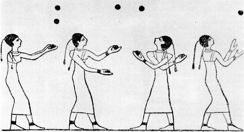 Egyptská nástěnná malba žonglérů