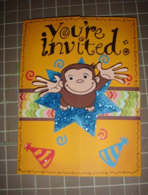 Stupendous Creative Mamita Curious George Birthday Invitations Personalised Birthday Cards Veneteletsinfo