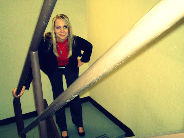 I say hello in the stairwell