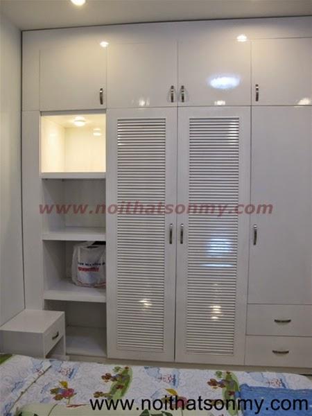 Tủ quần áo gỗ sơn màu trắng