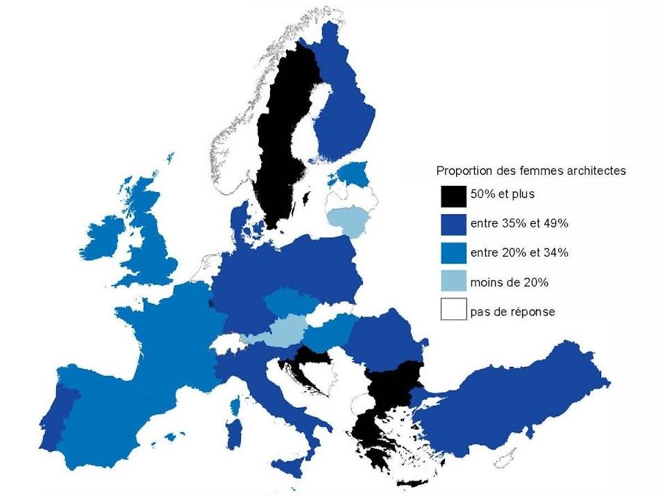 mujeres y hombres arquitectos en europa por pais