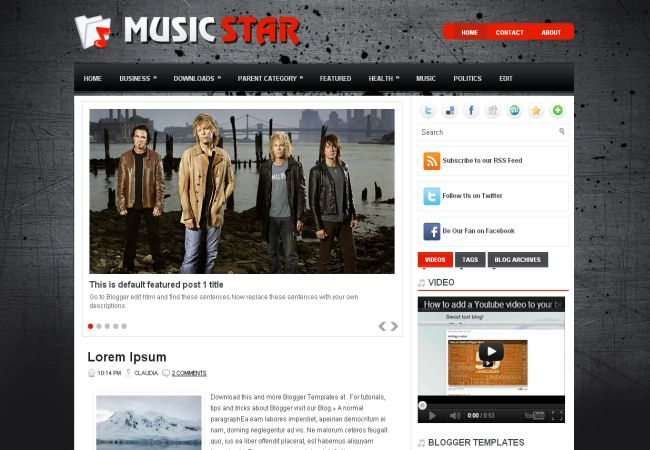 Free Music Lovers Black Blogger Layout Template