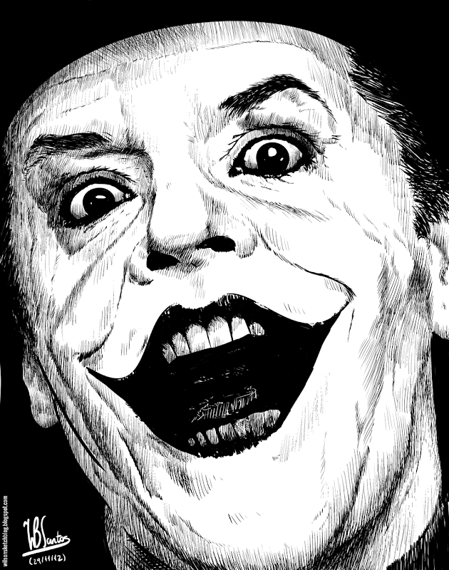 Ink drawing of Jack Nicholson as Joker, using Krita 2.5.