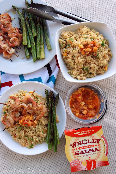 Red Pepper Mango Israeli Couscous with Shrimp Kebabs