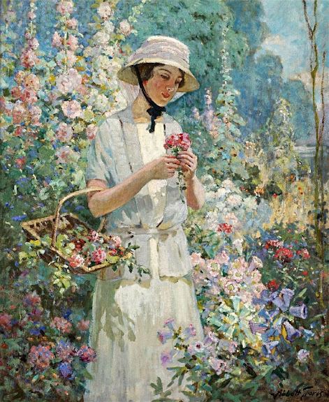 Abbott Fuller Graves - Woman with Flower Basket.