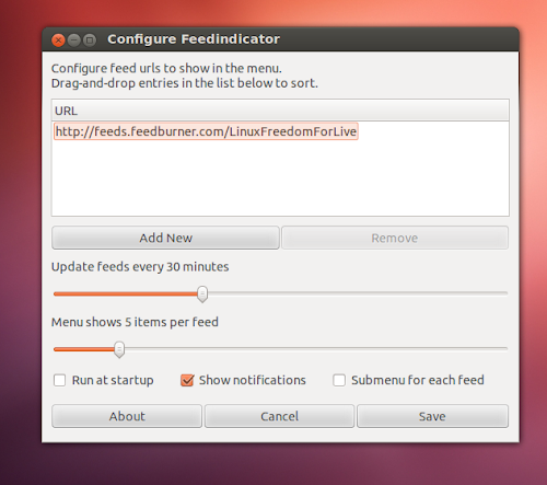 Feedindicator su Ubuntu - preferenze