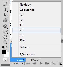 Definindo o tempo de duração de cada frame: 2 segundos