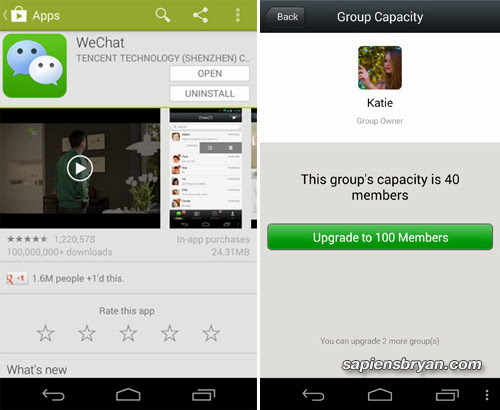 WeChat 5.1 can host up to 100 people in one single chat room