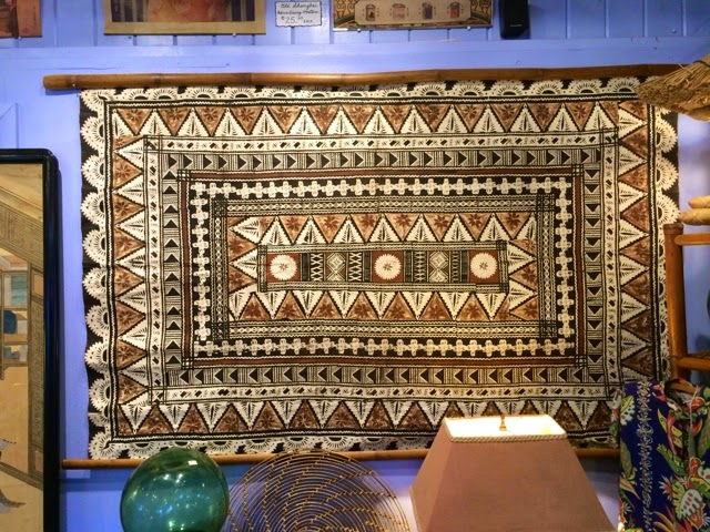 Pagoda Kauai vintage antique shop store Kapaa Hawaii Kapa Cloth Wall Hanging