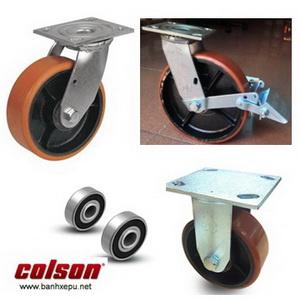 Bánh xe PU lõi Gang càng bánh xe mạ kẽm chịu tải (315~550kg)