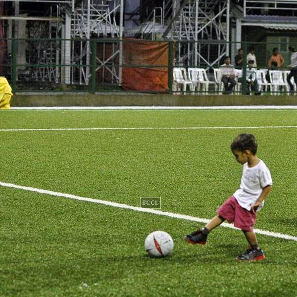 Azaad Khan during a charity soccer match organised by Aamir's daughter Ira Khan, at Cooperage ground, on July 20, 2014.(Pic: Viral Bhayani)