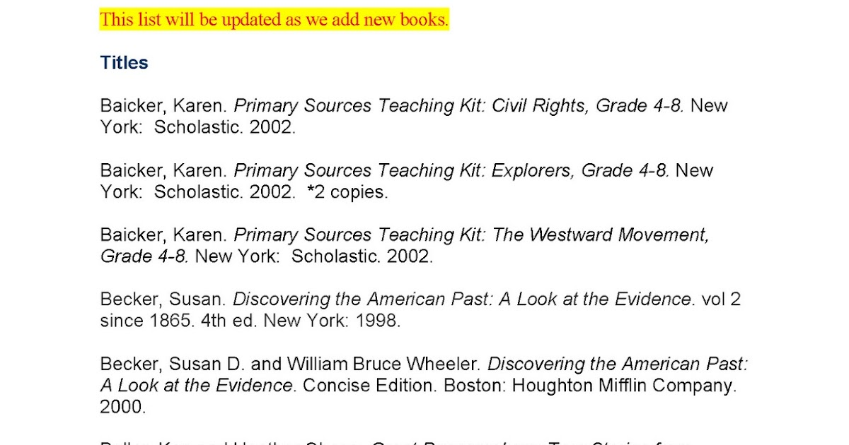 Primary Source Seminar Teacher Reference Shelf – Reference Sources Worksheets