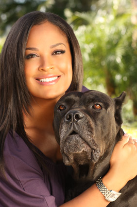 Laila Ali and her dog Smokey