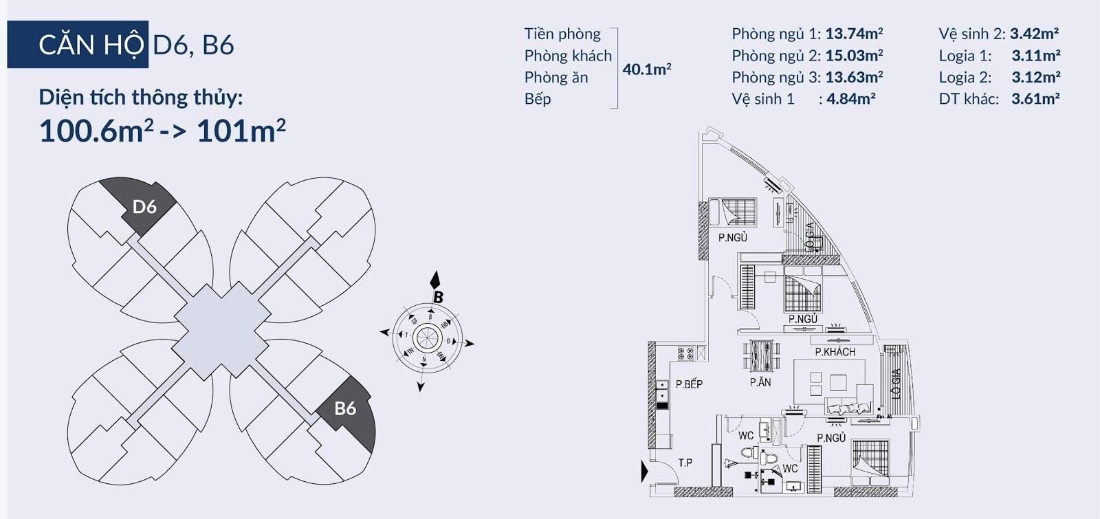 Chi tiết căn D6 B6 dự án chung cư Sky View Plaza Giải Phóng