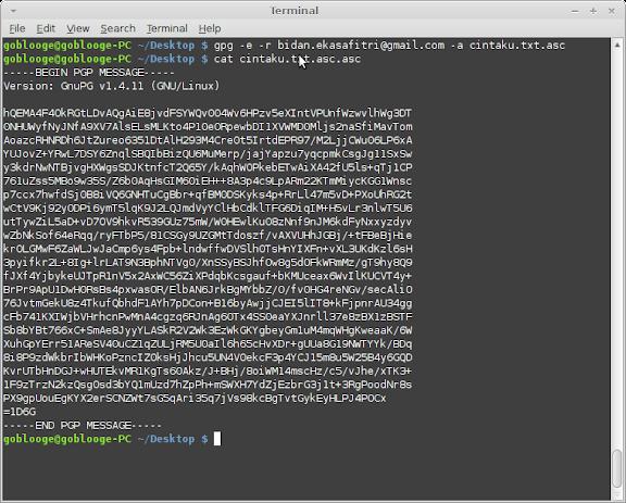 Encrypt dari file yang sudah ditandatangani (diberi signature)