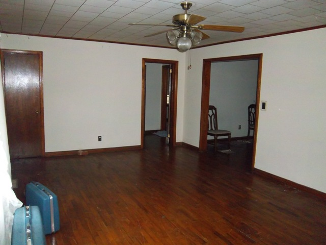Hardwood floors need refinishing.