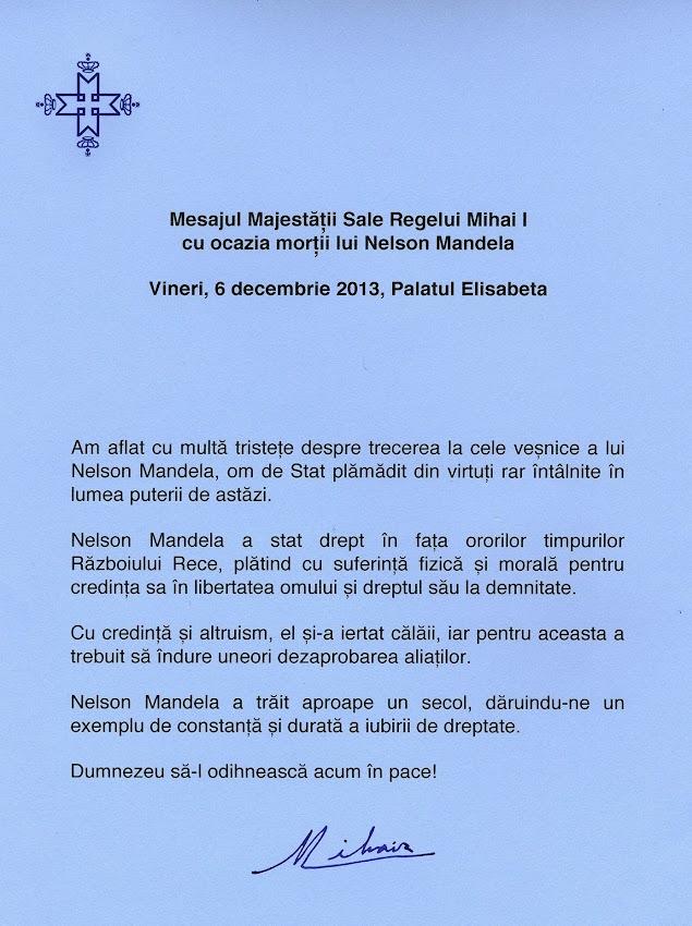 Mesajul Regelui Mihai I la moartea lui Nelson Mandela