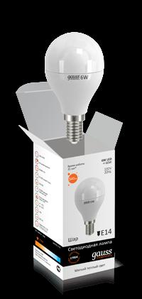 Светодиодные лампы Gauss Elementary шар 6W E14