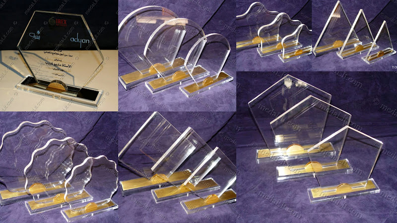 Acrylic Trophy. Engraved acrylic or with brass top base and clip, medals can be added.