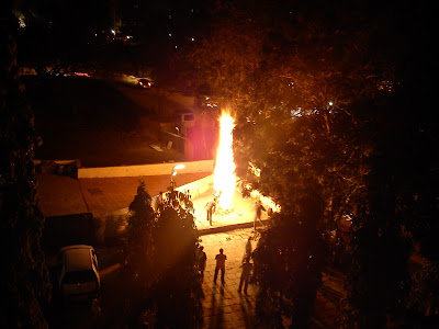 The Bonfire a symbol of burining of Holika the demon during Holi in India