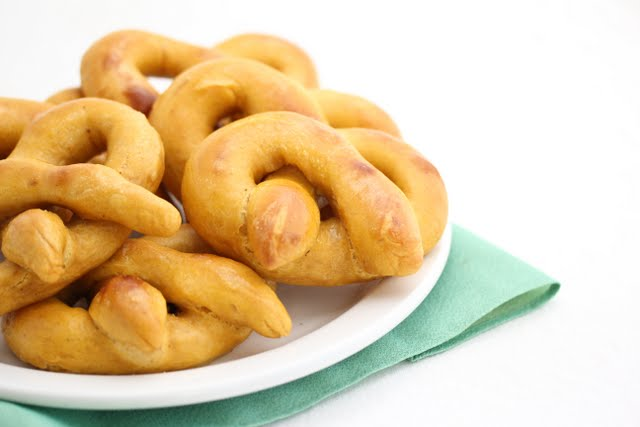 close-up photo of a plate of Soft Pretzels