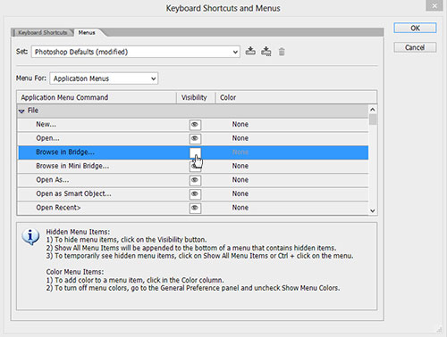 Keyboard Shortcuts and Menus