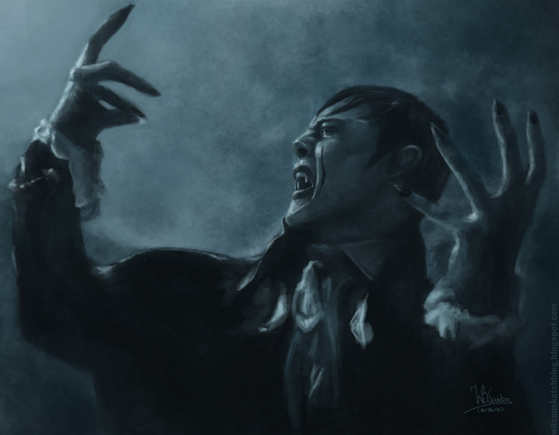 Painting sketch of Barnabas Collins from 2012 Dark Shadows movie, using Krita 2.4.