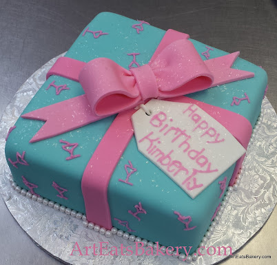 Ladys Turquoise Blue Fondant Custom Birthday Present Cake Design With Pink Martini Glasses And Edible Bow