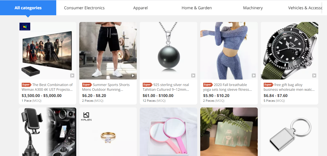 products available on alibaba