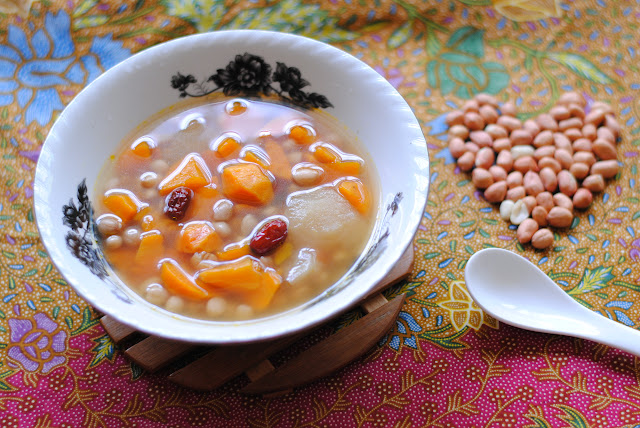 carrot sweet potato peanut pear soup meal by ServicefromHeart.