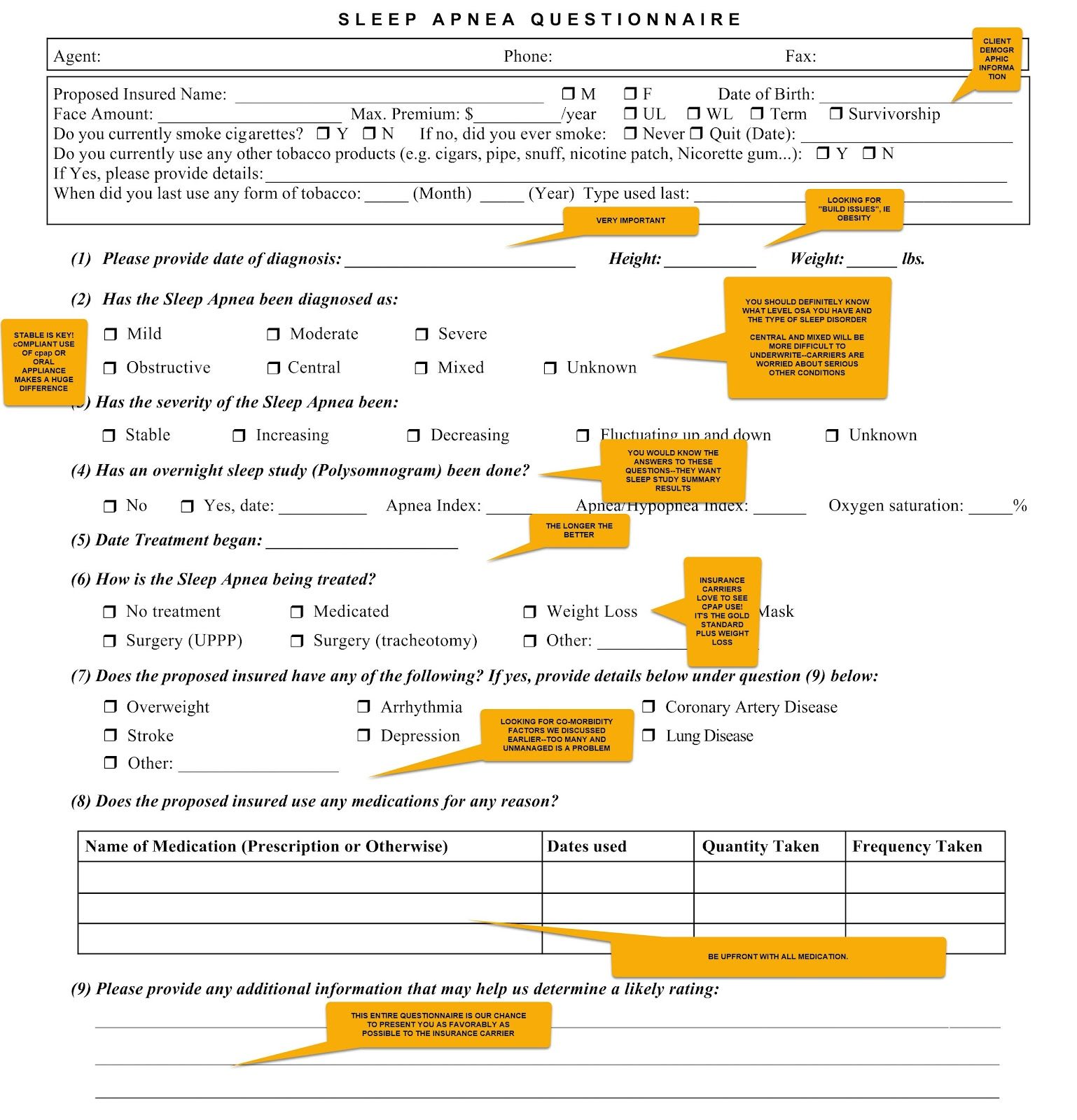 sleep apnea life insurance questionnaire