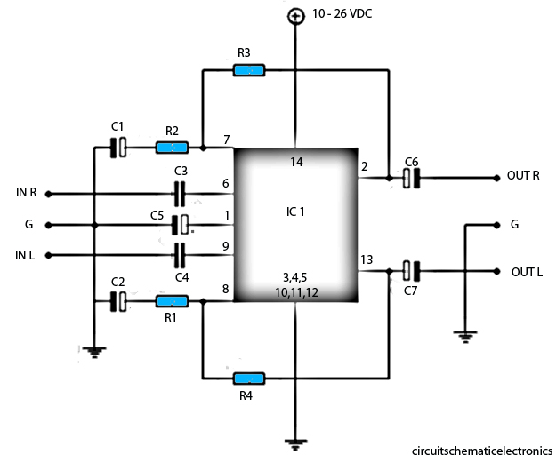 4558 ic bass circuit diagram