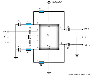 Schematic power amplifier with ic LM377