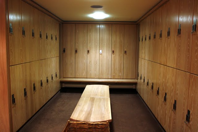 Locker room in the spa at the Stoke Park Hotel in England