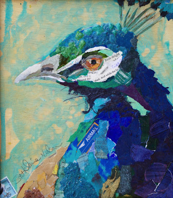 Peacock. 10x12, collage of hand-painted papers on panel