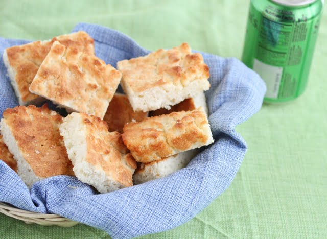 7-Up Biscuits in a basket with a blue napkin