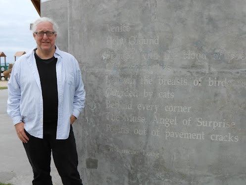 Fred Dewey at the Venice Beach Poets Monument
