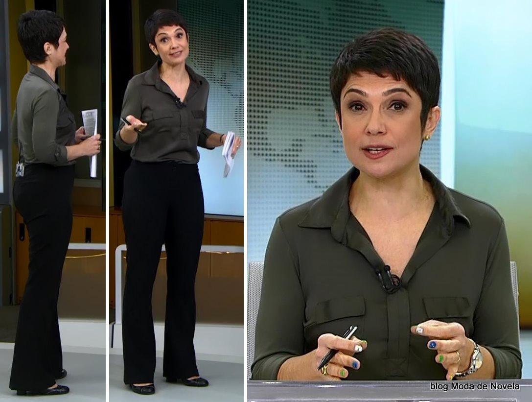 moda do programa Jornal Hoje - look da Sandra Annenberg dia 23 de junho