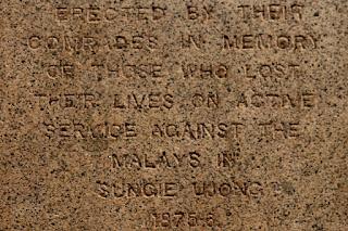 Pomnik poświęconym poległym w walce z... Malajczykami.