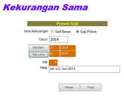 Isikan masa yaitu Januari s.d Juni 2014
